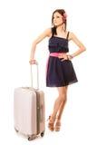 Course et vacances Femme avec le sac de bagage de valise Image libre de droits