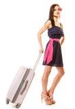 Course et vacances Femme avec le sac de bagage de valise Images stock