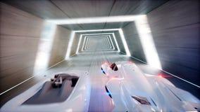 Course futuriste les voitures de vol jeûnent conduisant dans le tunnel du sci fi, coridor Concept d'avenir Animation 4K réaliste illustration stock