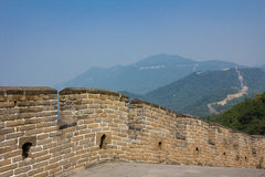 The course of the Great wall of China over the mountains Royalty Free Stock Photos