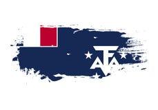 Course grunge de brosse avec le drapeau national du sud français Drapeau de peinture d'aquarelle E illustration stock