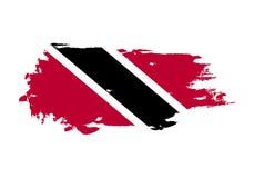 Course grunge de brosse avec le drapeau national du Trinidad-et-Tobago Drapeau de peinture d'aquarelle Symbole, affiche, bannière illustration de vecteur