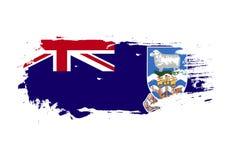 Course grunge de brosse avec le drapeau national de Falkland Islands Drapeau de peinture d'aquarelle E illustration stock