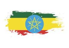 Course grunge de brosse avec le drapeau national de l'Ethiopie Drapeau de peinture d'aquarelle E Vecteur illustration de vecteur