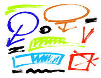 Course grunge de brosse Vecteur La brosse grunge différente frotte des éléments de couleur positionnement Photographie stock