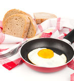 In the course of making breakfast with fresh eggs Stock Images