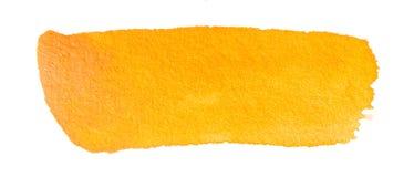 Course orange de brosse d'aquarelle tirée par la main Photographie stock libre de droits
