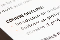 Course outline. A macro view of a course outline stock images