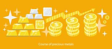 Course of Precious Metals Flat Design Royalty Free Stock Photos