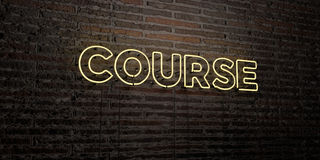 COURSE -Realistic Neon Sign on Brick Wall background - 3D rendered royalty free stock image Royalty Free Stock Photography