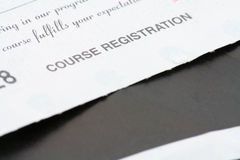 Course registration receipt. Close up shot Royalty Free Stock Images