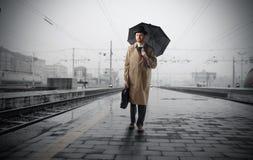 Course sous la pluie Photos libres de droits