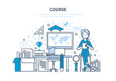 Course, system of training, distance learning, online education, technology, knowledge. Stock Photography