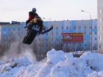 Course transnationale de neige. Photos stock