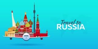 Course vers la Russie Avion avec des attractions Drapeaux de course Style plat Photos stock