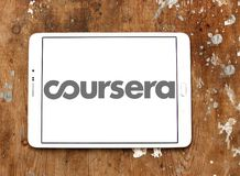 Coursera online education logo. Logo of Coursera on samsung tablet. Coursera is a venture backed, education focused technology company stock photography