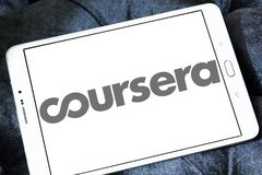 Coursera online education logo. Logo of Coursera on samsung tablet. Coursera is a venture backed, education focused technology company stock photos