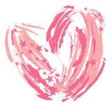 Courses abstraites de brosse de coeur dans le rose pour le jour de valentines Image libre de droits