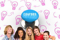 Courses against blue push button. The word courses and cheerful college students in library against blue push button Royalty Free Stock Photography