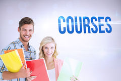 Courses against grey background Royalty Free Stock Photo
