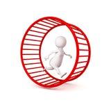 courses blanches de l'homme d'affaires 3d dans la roue de hamster Images libres de droits