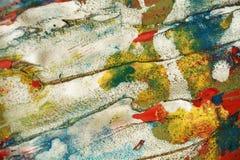 Courses cireuses en pastel oranges vertes argentées blanches de fond et de brosse de taches de rouge bleu, tonalités, taches photographie stock