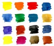 16 courses colorées de brosse Photo libre de droits