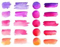 Courses colorées de brosse d'aquarelle de vecteur Milieux de bannière de vecteur de taches de peinture d'aquarelle de couleurs d' photographie stock