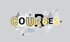 Courses Creative Word Over Abstract Geometric Shapes Background Web Banner Stock Photos