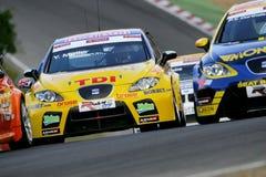 Courses d'automobiles (SIÈGE Leon TDI, FIA WTCC) Photos libres de droits
