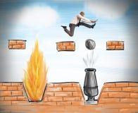 Courses d'homme d'affaires pour surmonter des obstacles illustration stock