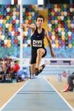 Courses d'intérieur de tentative de disque d'athlétisme Photo stock