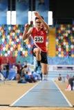 Courses d'intérieur de tentative de disque d'athlétisme Image stock