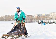 Courses de chien de traîneau de course de Baikal Photo libre de droits