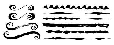 Courses, diviseurs et ornements peints à la main de brosse illustration libre de droits
