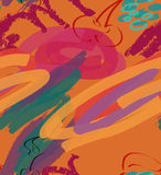 Courses et cerise rugueuses de marqueur sur l'orange illustration libre de droits