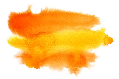 Courses jaune-orange de brosse d'aquarelle Photographie stock