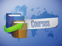 Courses message world map illustration Stock Photos