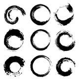 Courses noires de brosse de forme de cercles réglées Vecteur illustration libre de droits
