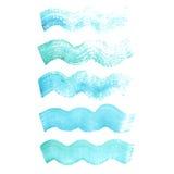 Courses onduleuses grunges de brosse d'aquarelle bleue de vecteur Images stock