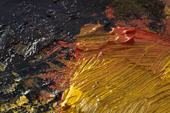 Courses originales de brosse de peinture à l'huile, plan rapproché, peint à la main Photographie stock