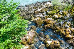 Courses rapides de crique le long des roches en rivière image stock