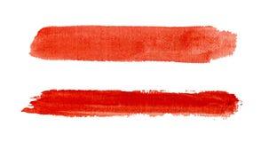 Courses rouges d'aquarelle d'isolement Photo stock