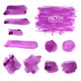 Courses violettes de brosse d'aquarelle Course de brosse de vecteur illustration libre de droits