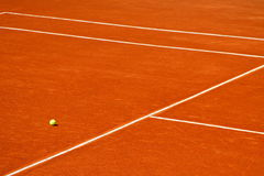 Court and ball. A simple background with tennis court and a ball Stock Photography