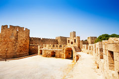 Court of Castello Palace fenced in defensive tower Royalty Free Stock Image