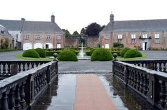 Court of castle with a water jet Stock Photography