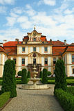 The court of the chateau. The fountain on the court of the chateau Jemniste in the Czech Republic royalty free stock photography
