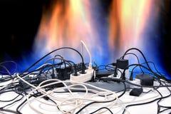 Court-circuit électrique Surcharge électrique de réseau Images stock