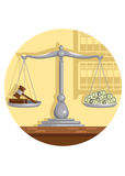 Court corruption. Judge gavel and money on scales, vector illustration stock illustration